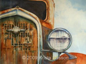 Faded Glory - Old truck watercolor by Krista Hasson