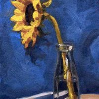 Sunflower in a Bottle- small daily oil painting