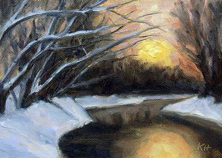 """Winter Sunset 5x7"""" oil by Krista Hasson"""