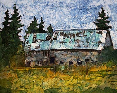 falling down barn - Watercolor Batik painting