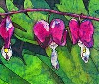 Watercolor batik painting - Bleeding Heart