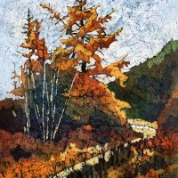 Watercolor batik painting - Fall Larches