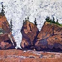 Watercolor batik painting - Hopewell Rocks #2