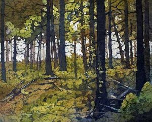 Watercolor batik painting - In the Forest