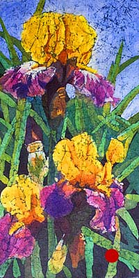 Watercolor batik painting - Irises