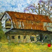 Watercolor batik painting - Kingston Barn