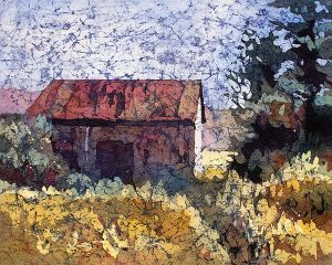 Watercolor batik painting by Krista Hasson barn country