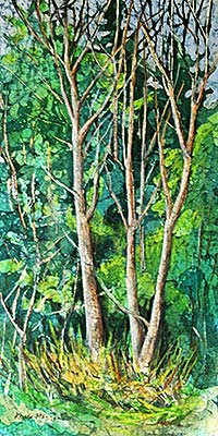 Birch trees in sprin watercolor on rice paper painting
