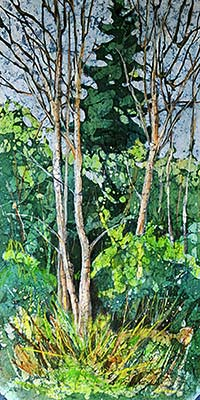 Watercolor batik painting - Spring Birches
