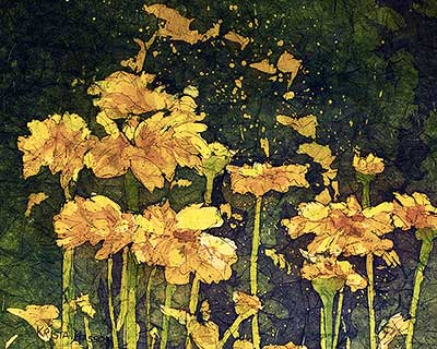 Watercolor batik painting - Nature's Sunshine