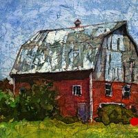 Watercolor batik painting - Norton Barn