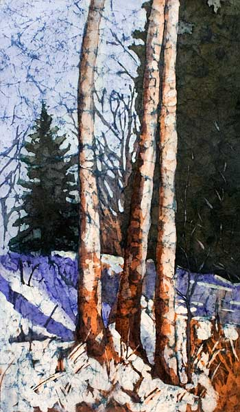 Spring Thaw watercolor batik painting by Krista Hasson