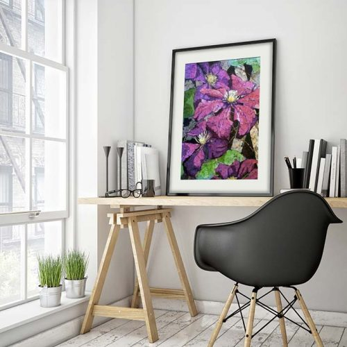 Clematis watercolor batik painting framed installed