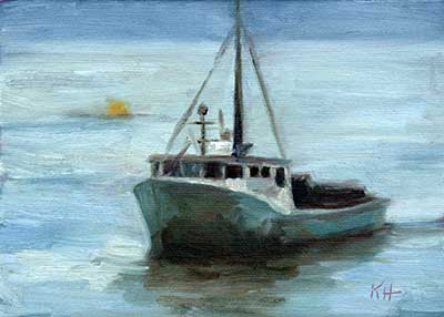 "Heading Home 5 x 7"" oil by Krista Hasson"