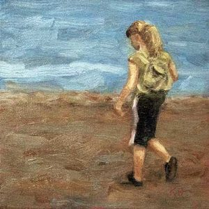 Beachcomber - small daily oil painting