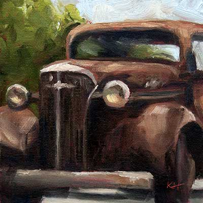 """Old Chev 6x6"""" oil by Krista Hasson"""