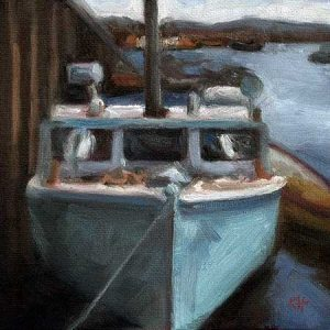 Docked - small daily oil painting