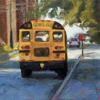 School Days - small daily oil painting