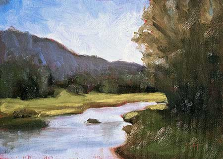 Country Stream - small daily oil painting