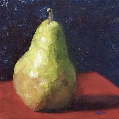 "Painting 1 of 30 ""Pear"" 8x8"" oil by Krista Hasson"