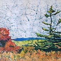 Watercolor batik painting - Lone Pine
