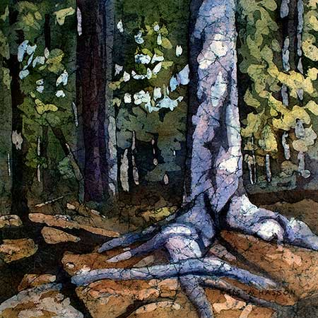 Watercolor batik painting - Solid Roots by artist Krista Hasson