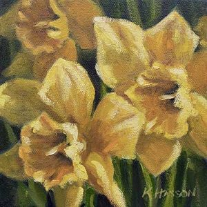 Daffodils - small daily oil painting