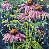 Watercolor batik painting - Cone Flowers #2