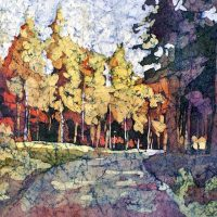 Watercolor Batik painting birch apsen trees by Krista Hasson