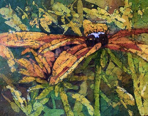Under Cover - Watercolor Batik painting on rice paper for sale
