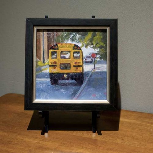 oil painting school bus framed