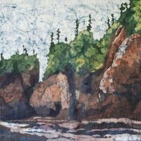 Hopewell Rocks watercolor batik by Krista Hasson
