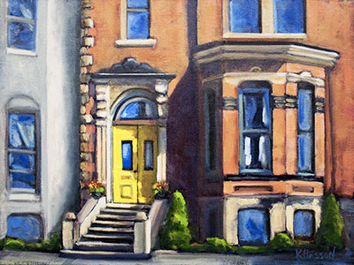 Yellow Door in Uptown Saint John oil painting