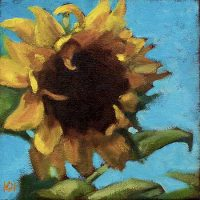 Sunflower - small daily oil painting