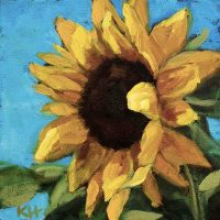 Painting of a Sunflower #2 - small daily oil painting