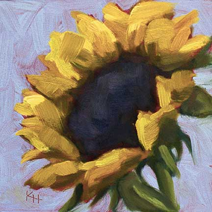 Sunflower #5 - small daily oil painting
