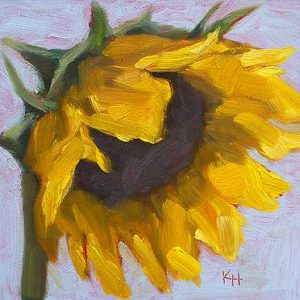 Sunflower #4 - small daily oil painting by Krista Hasson