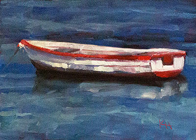 Waiting #3 - small daily oil painting by Krista Hasson