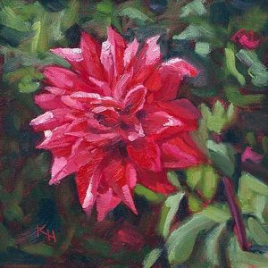 Dahlia - small daily oil painting