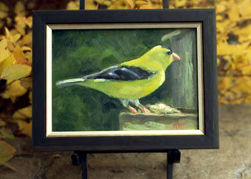 Holiday Giveaway - Win an Original Goldfinch Oil Painting by Krista Hasson