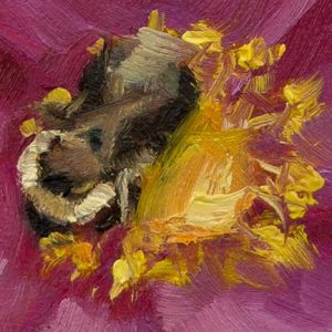 Close up of bee in oil
