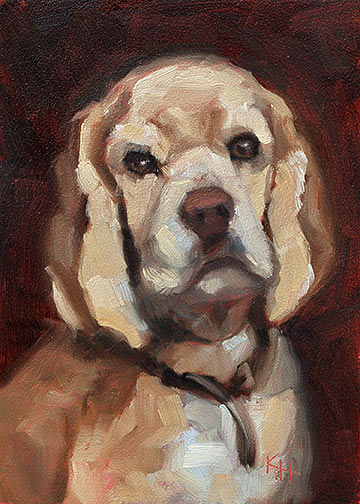 Cocker Spaniel - small daily oil painting