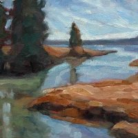 Waterscape - small daily oil painting by Krista Hasson