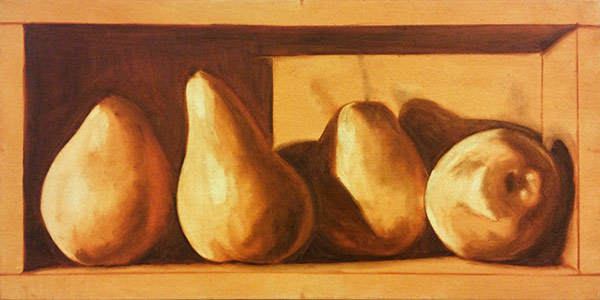 """12x24"""" Pears in a box. Week one - Cliff Turner's Oil Still Life Class"""