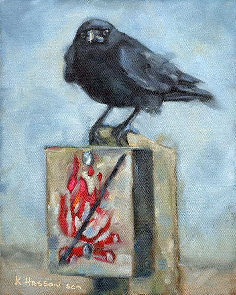 crow - fire starter oil painting by Krista Hasson