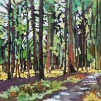 Light Through the Trees 3 watercolor batik by Krista Hasson