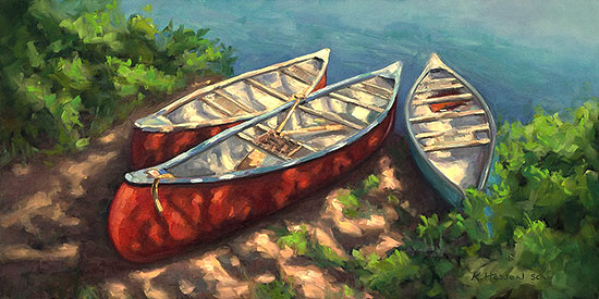 SCA Maritime Adventures oil painting by Krista Hasson canoes