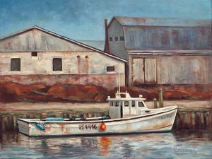 maritime fishing boat oil painting by Krista Hasson