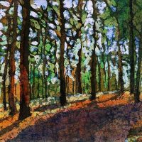 Light through the trees 2 - watercolor batik painting by Krista Hasson