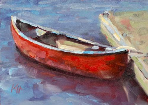 Red Canoe oil painting by Krista Hasson